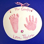Color Pawprint - ceramic color handprints in multiple color choices, such as pink or blue